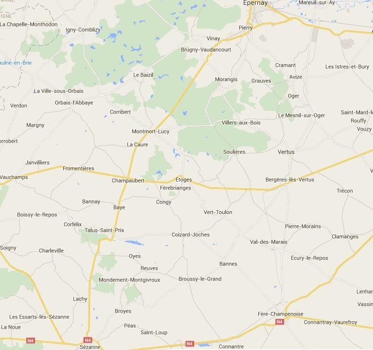 Zone pour intervention de l'entreprise de peinture Adam Cyril dans la Marne 51
